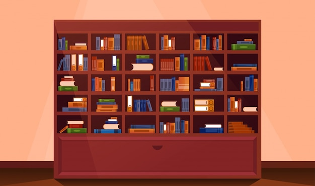本の大きな本棚。図書館の本棚のインテリア。
