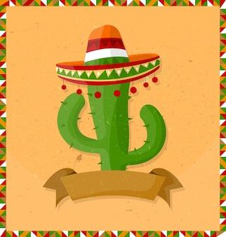 Мексиканский кактус мультипликационный персонаж с сомбреро и лентой