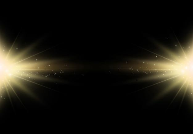 Солнечная вспышка с эффектом золотого блеска. звездный взрыв