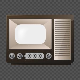 レトロなテレビ。古い学校のテレビ。透明なグリッド上の分離のモックアップ。