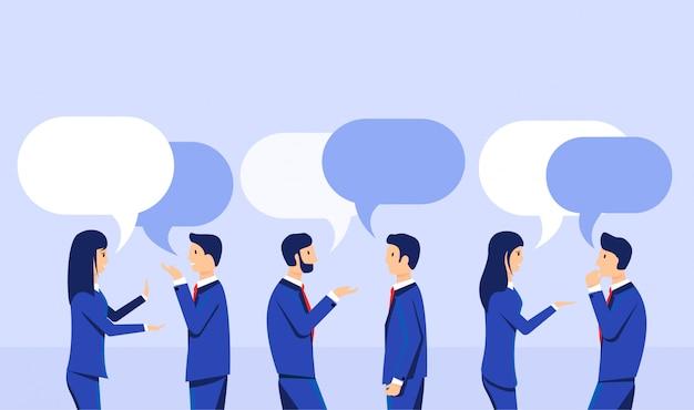Деловые люди обсуждают в плоском стиле