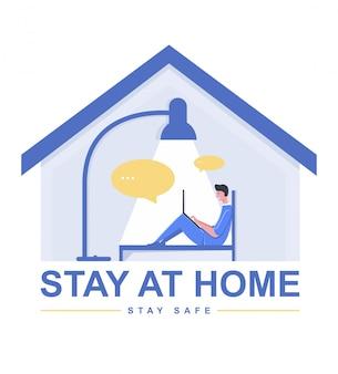 Оставайтесь дома, концепция дизайна. фриланс и онлайн общение в доме.