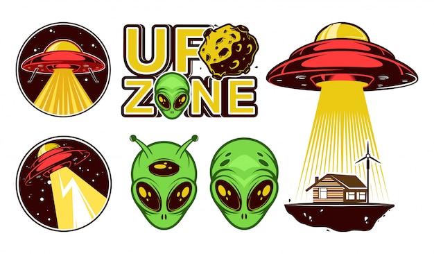 Набор логотипов пришельцев. нло зона. ,