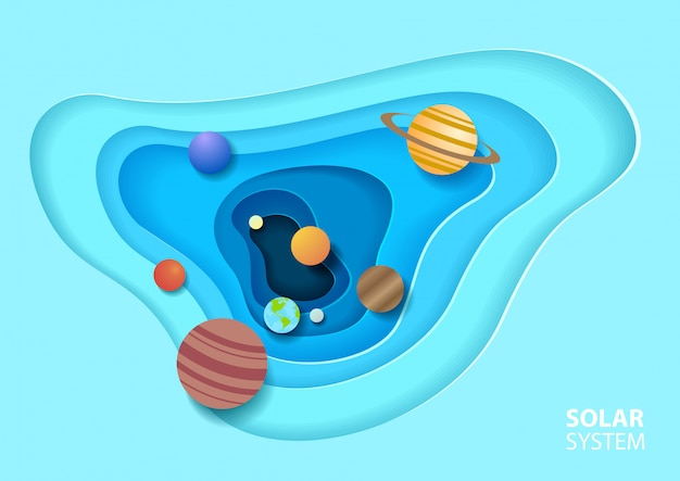 紙アートスタイルの太陽系