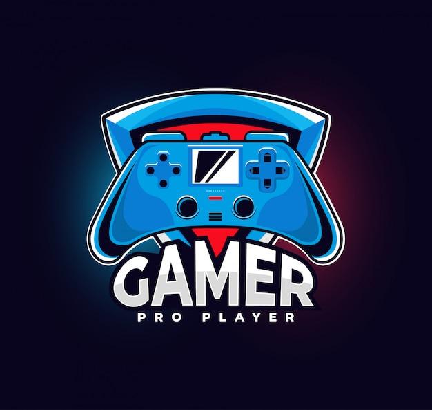 ゲームパッド付きゲーマーロゴ。