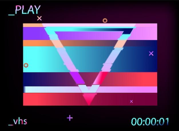 シンセウェーブスタイルの幾何学的なホログラフィック。グリッチ効果