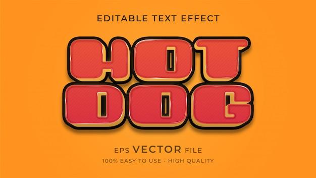 Хот-дог в стиле ретро редактируемый текст эффект концепции
