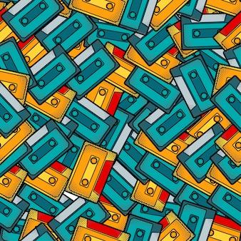 カセットポップアートのシームレスパターン
