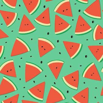 夏のスイカ果実のシームレスパターン