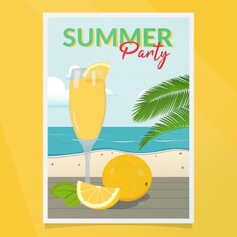 夏のパーティーのポスターベクトル