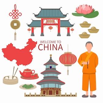 中国のシンボルデザイン旅行コンセプト。