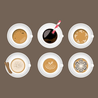 Кафе макете. кофе арт латте дизайн.