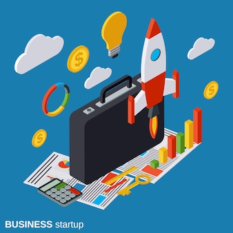 ビジネススタートアップ等尺性ベクトル概念図