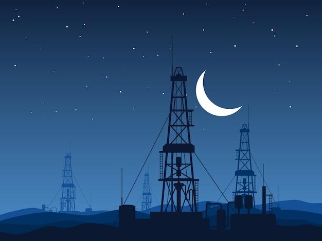 夜の砂漠のベクトル図の上の石油と天然ガスのリグ