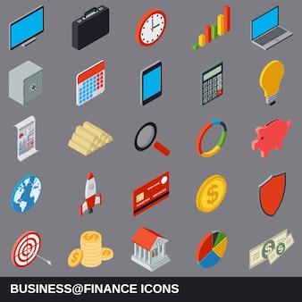 ビジネスと金融のフラット等尺性漫画アイコンコレクション