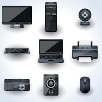 コンピューターと周辺機器のベクトルのアイコン。リアルなミニチュアコレクション