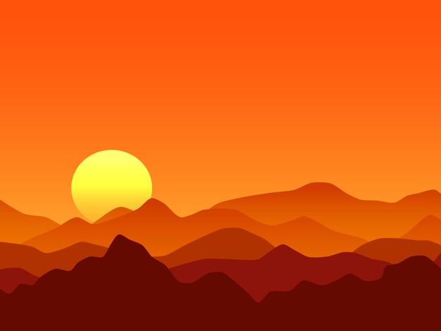オレンジ色の山々の日の出のベクトルの背景