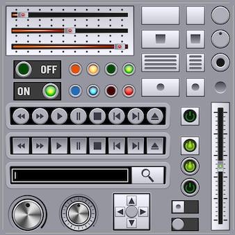 マルチメディアプレーヤーのグラフィックユーザーインターフェイスのベクトル要素のコレクション。アナログ機器のレトロスタイル