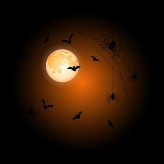 月ハロウィンオレンジ背景
