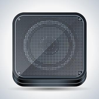 正方形の黒いプラスチック製のスピーカー現実的なベクトルのアイコン