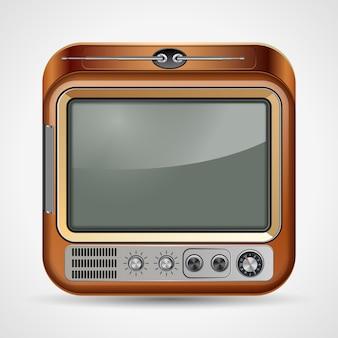 Ретро телевизор квадратный вектор значок