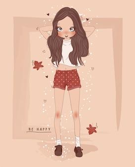 手描きの背景を持つかわいい女の子
