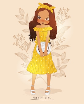 手描きの花の後ろにかわいい女の子