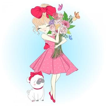 Нарисованная рукой милая девушка с мопсом
