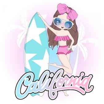 サーフボードと手描きのかわいい女の子