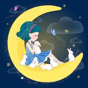 ウサギと手描きのかわいい女の子