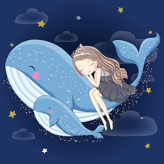 クジラで寝ているかわいい女の子