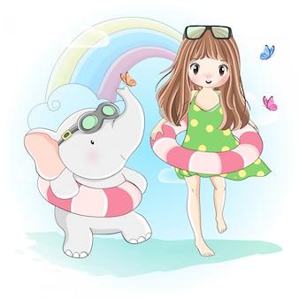かわいい女の子と小さな象が泳ぎに行く