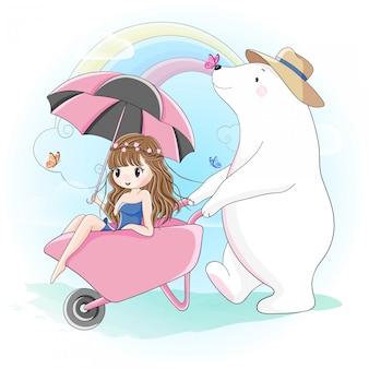 かわいい女の子とシロクマが屋外で歩く