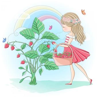 かわいい女の子がイチゴをたくさん摘んで