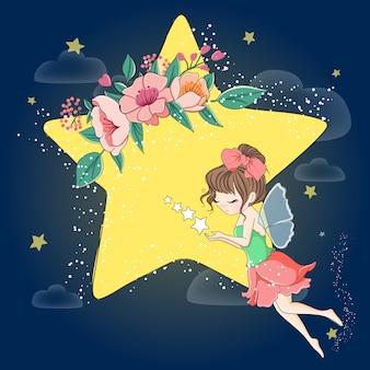 夜を飛んでいるかわいい女の子