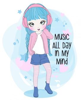 手描きのかわいい女の子が音楽を聴く
