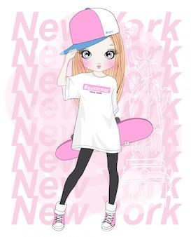 手描きのスケートボードでかわいい女の子
