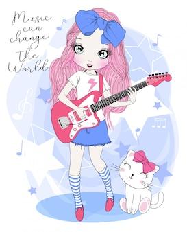 ギターを弾く手描きのかわいい女の子
