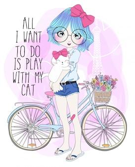 猫と手描きのかわいい女の子
