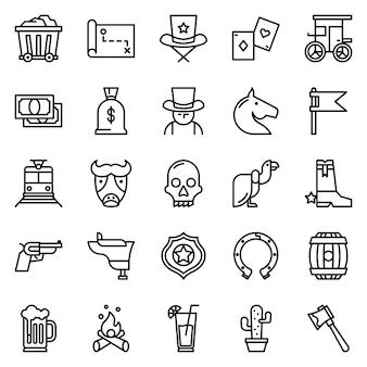 Западный набор значков с контурным стилем иконок