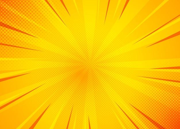 黄色の漫画の背景。黄色のポップアートコミック背景