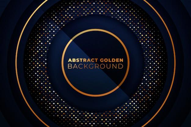 円形の黄金背景。抽象的な青と金色の円形の背景。
