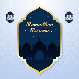 モスクのシルエットとラマダンデザインの背景。