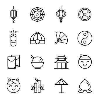 中国の旧正月アイコンパック、アウトラインアイコンスタイル