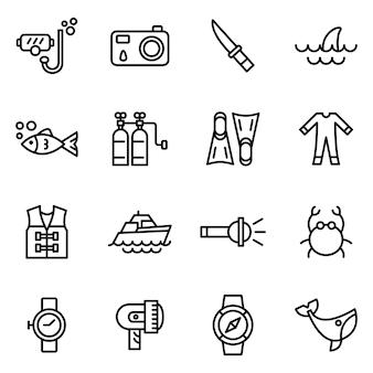 Набор иконок для дайвинга, стиль контура