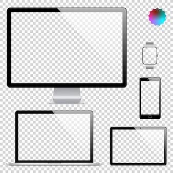 リアルなディスプレイ、ラップトップ、タブレットコンピューター、携帯電話のセット