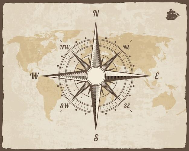 ビンテージ航海コンパス。引き裂かれたボーダーフレームを持つベクトル紙テクスチャ上の古い世界地図。