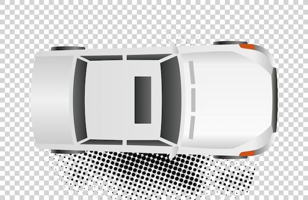 白い車のトップビューのベクトル図です。フラットデザインオート。孤立したセダン