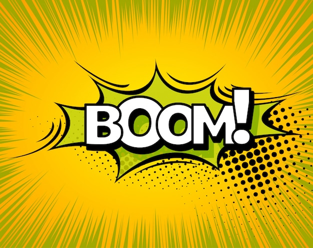 ブーム漫画本爆発ベクトルデザイン。ブーム