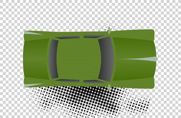 トップビューのベクトル図から緑の古典的な車